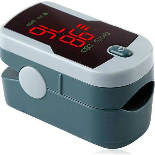 ChoiceMMed Grey Finger Pulse Oximeter - Blood Oxygen Saturation Monitor Great as SPO2 Pulse Oximeter - Portable Oxygen Sensor with Included Batteries - O2 Saturation Monitor