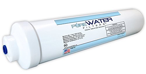 Inline Water Filter For Refrigerators, Ice Makers, Coffee Makers, Water Fountains, Water Coolers, Sink Faucets, RV, Campers, and Boats - with 1/4' Quick-Connect Fittings