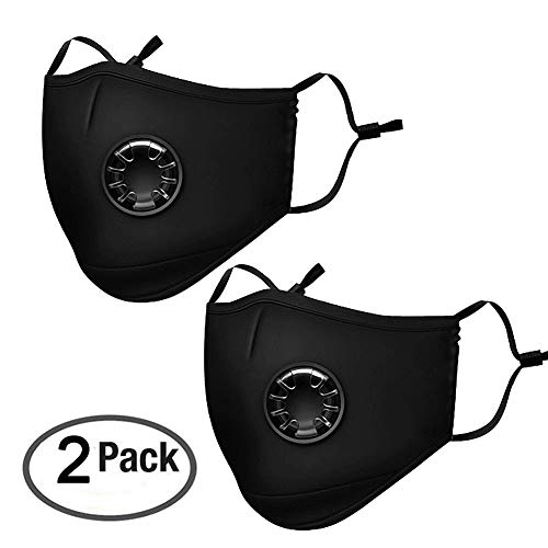 N95 N99 Breathing Dustproof Mask - Safety Reuseable Washable Air Pollution Respirator with 4 Velvet Fabric Activated Carbon Filters - for Dust, Face and Outdoor Activities 2 Pack Black